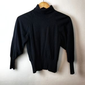 Vintage Italian Black Turtleneck Crop Wool Sweater